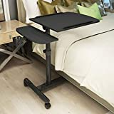 MILECN Mobiler Laptop-Stehpult Verstellbare Höhe 65-95 cm 4 Rollen (Mit Verriegelung),Schwarz
