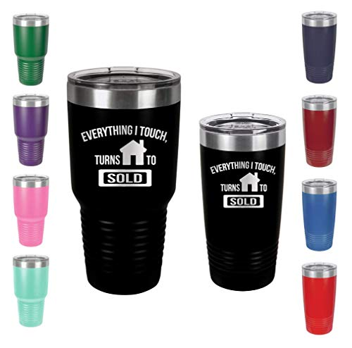 Everything I Touch Turns to Sold - Engraved Tumbler Wine Mug Cup Unique Funny Birthday Home Closing Ideas for real estate agent reality Men or Women (20 Ring, Black