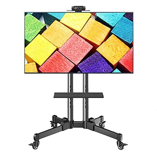 Grande Móvil Soporte de TV sobre Ruedas, Altura Ajustable Suelo Carrito de TV con 2 Estantes de Almacenamiento, Se Adapta a 32/42/43/50/55/65/70 Pulgadas LED Pantallas LCD TV