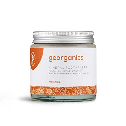 georganics Remineralizante Natural Aceite Coco Orgánico pasta dental blanqueadora 120ml - Rojo...