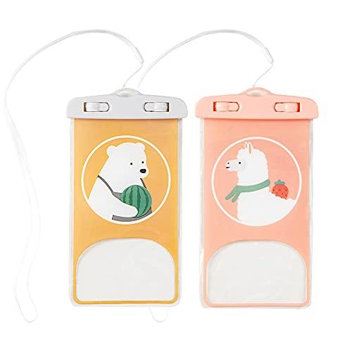 JMTALL Paquete de 2 bolsas impermeables IPX8 para teléfono con diseño de dibujos animados de animales bajo el agua seco con cordón para la natación, el buceo, la playa - Oso de Alpaca