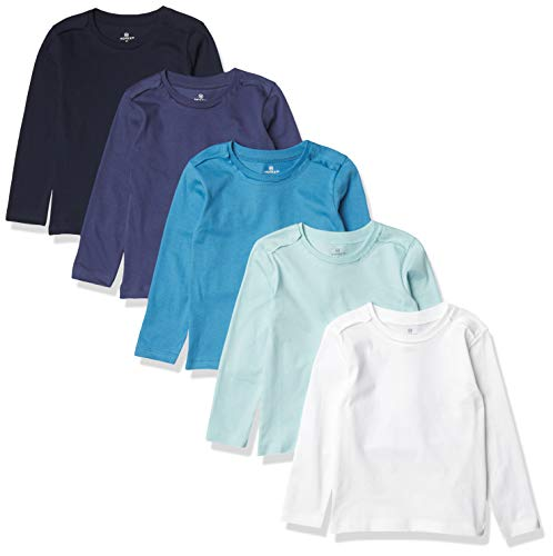 HonestBaby 5-Pack Organic Cotton Long Sleeve T-Shirts, Blue Ombre, 24 Months