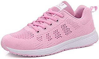 FYXKGLa 2019 Summer New Sports Shoes Women's Wild Running Casual Mesh Breathable Lightweight White Shoes (Color : Pink, Size : 40EU)