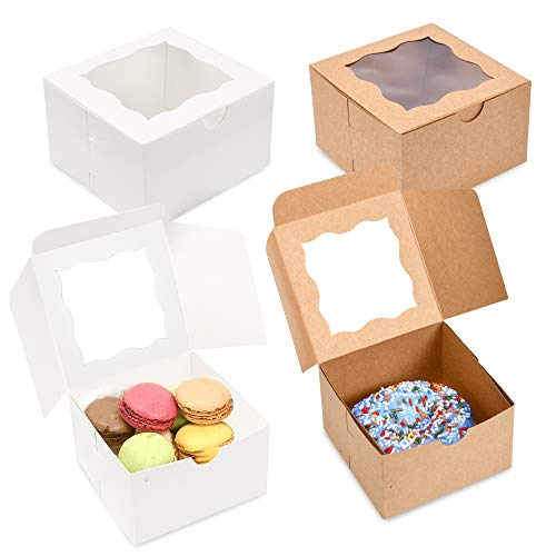 Surf City Supplies Cake Boxes 4X4X2.5 50-PACK- White Bakery Boxes with Window Easy to Assemble- Great for Cakes, Cupcakes, Donuts, Pies, Cookies, Pastries, Cheesecake, Candy, & Brownies