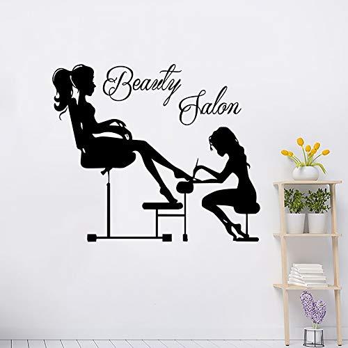 Calcomanías de pared de pedicura decoración de estudio de uñas moda chica uñas manicura pared arte pegatina removible diseño de interiores arte A2 67x57cm