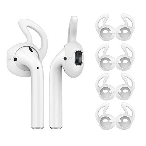 MoKo 4 Pièce Étui/Skin Compatible avec AirPods/EarPods, Crochet d'oreille Remplaçable en Silicone Souple, Antidérapant et Anti-Perte, Accessoire de l'Écouteur, Parfait pour Sport - Blanc