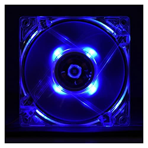JYHSHENG Ventilador de Caja de PC, 1 unids 80mm LED LED 12V 4PIN CPU Fan del Enfriador para la Caja de la PC de la computadora Ventilador de enfriamiento del Silencio (Blade Color : Blue)