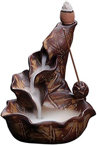 Tantrum Tow Ropes Brown Ceramic Incense Burner Porcelain Lotus Pond Censer Backflow Cones Sticks Holder