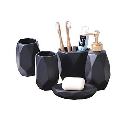 Kleine Badezimmerkeramik-Kits, exquisite Handwerks Badezimmerzubehör Set Nordic Ceramic Badezimmer Wäsche Fünf-teilige Kreative Zahnbürste Tasse Zahnbürste Halter Waschbecher Set Zahnbürstenhalter