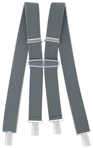 Xeira - Bretelles de Haute qualité pour Femmes/Hommes avec 4 Clip Extra Fort 3,5cm Large en 10 Couleur Design differentes - Fabriqué en Allemagne (Gri