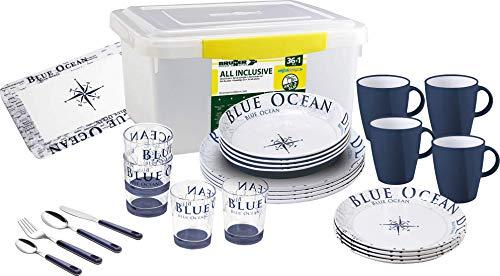 BRUNNER All Inclusive Teller aus Melamin Blue Ocean - 36-tellig