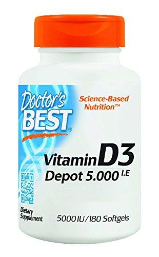 Doctor's Best   Vitamin D3 Depot   5000 I.E   180 Weichkapseln   Wochendosis   glutenfrei   sojafrei