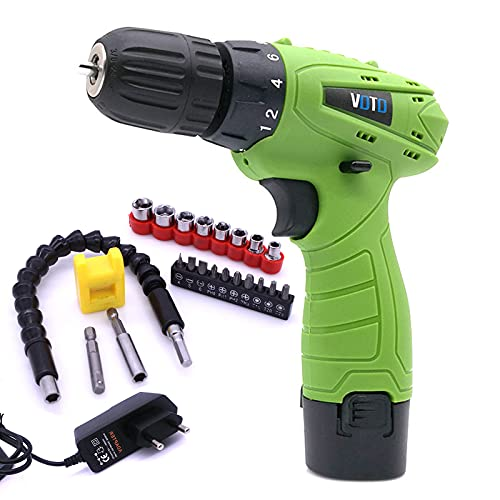 home renovation Small Portable Cordless Electric Drill Set, Cordless Drill Set with 2 Pieces of Battery and Charger, 18 Clutch Electric Screwdriver, With 26pcs Drill Bit for Drilling and Fastening