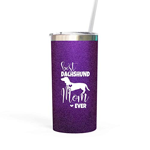Best Dachshund Mom Ever Water Bottle Tumbler with Lid and Straw Gifts for Women Cup Wiener Dog for Her Purple 0339