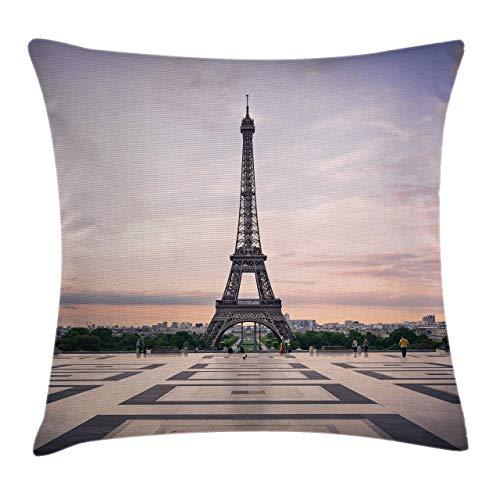 PhyShen Trocadero and Eiffel Tower at Sunshine Paris Skyline Historic Landscape View Fundas de Cojines Fundas de Almohada para sofá de Dormitorio Funda de Almohada Cuadrada Decorativa para el hogar
