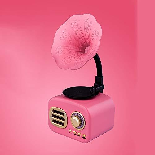 SMLZV Tocadiscos Belt-Drive Retro gramófono Altavoz inalámbrico Bluetooth Ranura integrada Recargable batería de la Tarjeta del TF for el Ministerio del Interior (Color : Pink)