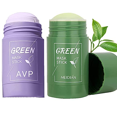 TTCPUYSA Green Tea Purifying Clay Stick Mask Oil Control Anti-Acne Eggplant Mask Deep Cleansing Smearing Clay Mask for All Skin Types (2 Sticks)
