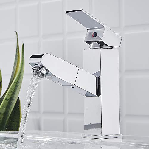 Auralum Bad ausziehbar Wasserhahn Waschbecken Badarmatur mit herausziehbarer Brause Mischbatterie Einhebelmischer Chrom Waschbeckenarmatur für Badezimmer Haarewaschen