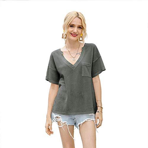 N/P Summer Solid Vintage T-Shirt Mujeres con Cuello en V de Manga Corta Casual Fashion Plus Size T-Shirt Mujeres Streetwear tee Shirt Femme