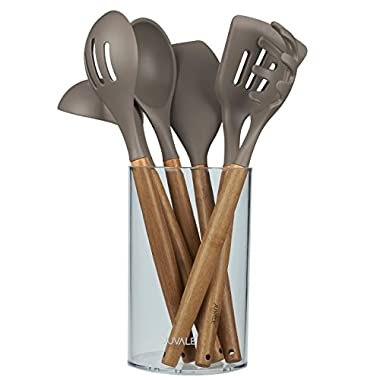 Kitchen Utensil Set - Gourmet Non-Stick Silicone Cooking Tools with Bamboo Handles - Ladle, Spatulas, Spoons, Pasta Server - Tan / Grey - 7-Piece Set Including Holder
