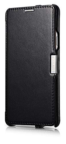 ICARER Tasche passend für Samsung Galaxy Note 4 / SM-N910, Case mit echtem Leder, Schutz-Hülle seitlich klappbar, Ultra-Slim Cover, dünne Handy-Hülle, Etui, Schwarz