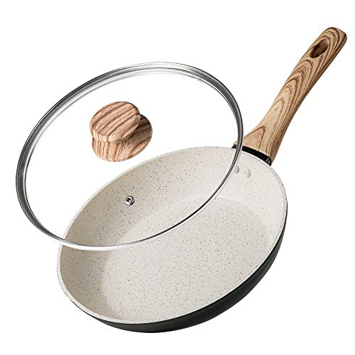 MICHELANGELO Small Frying Pan with Lid Stone Nonstick Frying Pan with Bakelite Handle StoneDerived NonStick 8 Inch Frying Pan White Stone Nonstick Frying Pan with Lid  8 Inch