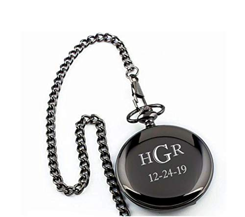 Personalized Gunmetal Pocket Watch Engraved Free – Ships from USA