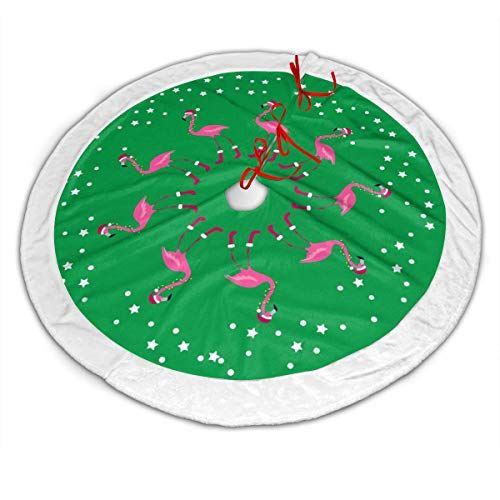Jim Hugh Christmas Tree Skirt, 48' Faux Fur Plush Soft Xmas Tree Mat, Warm Holiday Wishes Christmas Flamingo in Santa Hat Pattern Carpet Apron for New Year Festive Holiday Party Decoration
