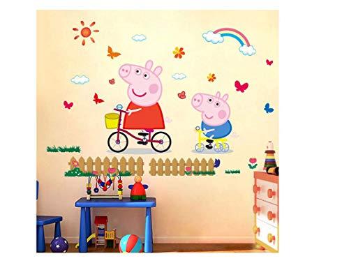 Utopiashi 3D Cartoon rosa Familie PVC Aufkleber Kleber Peppa Schwein Wandaufkleber Wandbild Home De