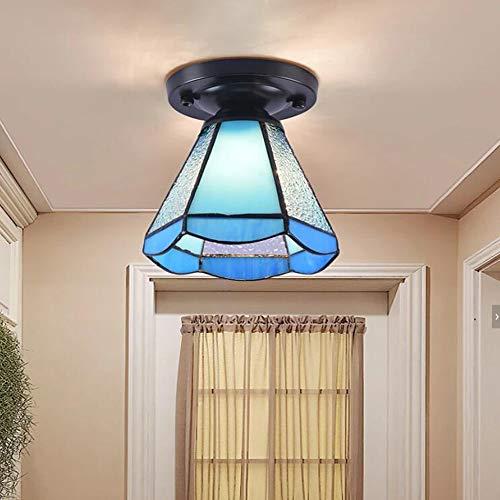 Lámpara de techo Tiffany de cristal de colores, con borde de 6 pulgadas de ancho, 1 bombilla LED invertida para dormitorio, isla de cocina, pasillo