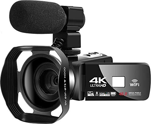 Videocamara 4K Videocámara WiFi Cámara de vlogging de 48MP Videocámara Digital 30FPS Visión Nocturna por Infrarrojos Videocamara con Pantalla táctil de 3 Pulgadas con micrófono y Capucha