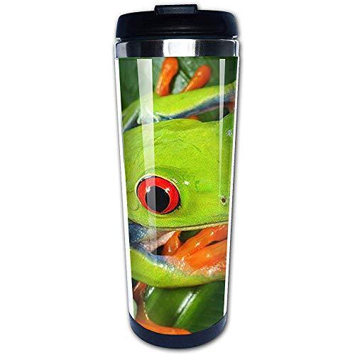 Like-like Gelbe Augen-grüner Frosch-Edelstahl-Wasser-Schalen-Reise-Kaffeetasse für den Sport, der das Wandern radfährt