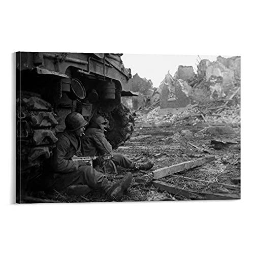 QWDAS Impression sur toile de la Seconde Guerre mondiale documentaire de la Seconde Guerre mondiale - Décoration murale moderne pour chambre à coucher - 20 x 30 cm