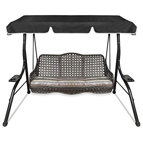 Replacement Canopy for Garden Swing Chair, 3 Seater Hammock Top Cover Outdoors (Grey) (Black, Small)