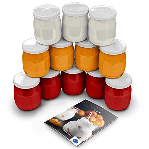Lot 12 Pots de Yaourts en Verre avec Couvercles Étanches pour Yaourtières Robots Multicuiseurs Fabriqués en France Livret Recette Offert (12 Pots 143ML)