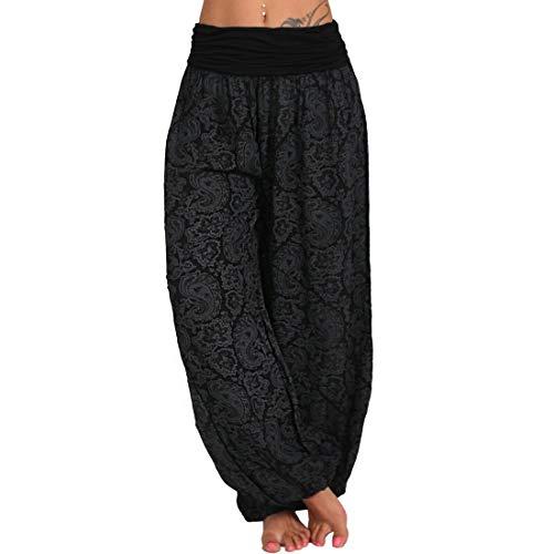wenyujh Pantalones bombachos para mujer, ligeros, sueltos, de verano, para el tiempo libre, con estampado floral, elegantes, aladin, pantalones de yoga Aa-negro. 46
