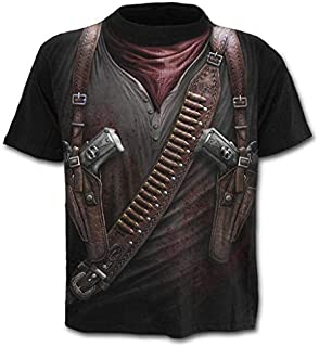 Xlala Men's T Shirt Western Cowboy 3D Printing Tops Blouse Round Neck Slim Fit Short Sleeve Personality Novelty Clothing Shirts
