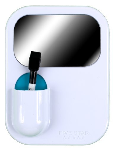"""Five Star Locker Accessories, Combo Dry Erase Board and Mirror, 6"""" x 8"""", White with Teal Pocket (72604)"""