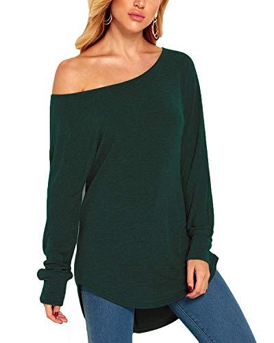 YOINS Damen Langarmshirt, schulterfrei, legere Bluse, kalte Schulter, übergroßer Pullover Sweatshirt Gr. 44, A-grün