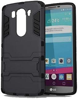 جراب مضاد للصدمات لهاتف LG V10 Iorn Man Hard Rugged Kickstand - أسود