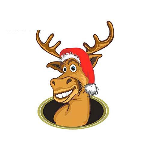 GQQ autosticker, 13 x 9,6 cm, rendier met kerstmuts, cartoon-stickers voor auto's, vinyl, JDM, bumper, vrachtwagen, stam Stijl A