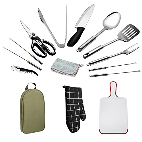 POTAXLSL Camping Cooking Set Kitchen Cookware Utensils Travel Portable Stainless Steel Waterproof 15-Piece Storage Set for Picnic BBQ Camping Hiking Travel Gift Set