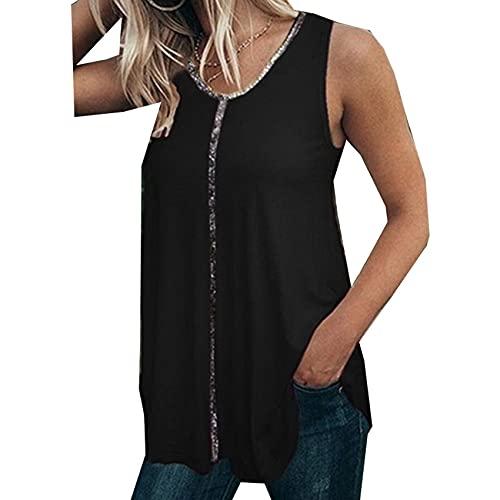 Camiseta De Moda Chaleco Camiseta Casual De Verano para Mujer Sexy con Cuello En V Camisetas Sin Mangas para Mujer Camisa Sin Mangas