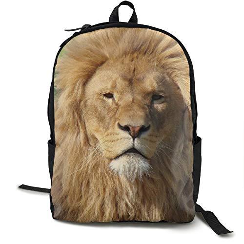 Mochilas universitarias mochila escolar portátil mochila de viaje, senderismo, camping, cara de león, piel de melena de gato grande Predator