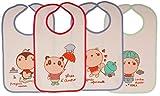 Ti TIN Pack 4 Baberos Estampados Impermeables para Bebé 73% Algodón - 27%...