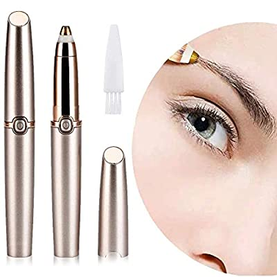 Xikaga Eyebrow Trimmer for Women, Electric Painless Eyebrow Trimmer with LED Light Eyebrow Remover Eyebrow Razor for Women,Battery Powered(Rose Gold) by Xikaga