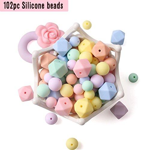 let's make Perle in Silicone per Bambini Collane di Dentizione 102pcs Perlina Sciolta per i Denti Sensoriali Serie di Caramelle Bracciale Clip Ciuccio Infermieristic