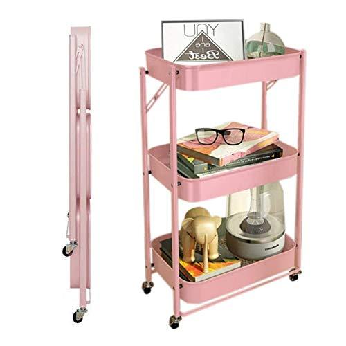 ZYFang 3 Niveles Mueble Auxiliar de Cocina, Plegable Fruteros de Cocina Metal Mesa Carro de Almacenamiento con 4 Ruedas y 3 Cestos para Cocina Restaurante (Color : Pink, Size : 17.7 * 11.6 * 30.3in)
