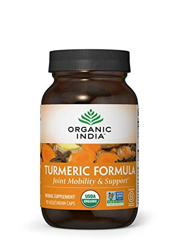 ORGANIC INDIA Natural Turmeric Root Veg Capsules, USDA Certified Organic, High Bioavailability Formula, 90 Capsules.