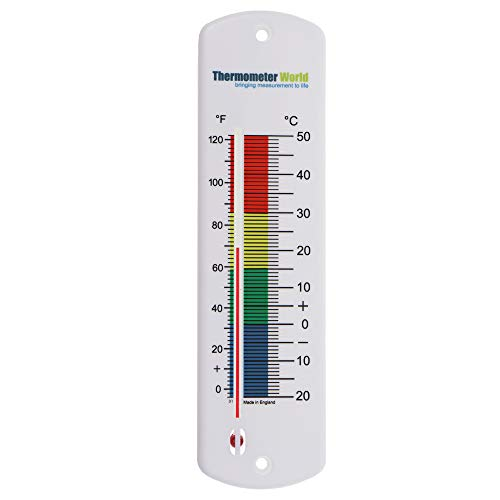 Large 240mm Outdoor Thermometer for Garden - Can be used as a Greenhouse Thermometer or Home Office Room Indoor Outside Complete with Colour Coded Zones